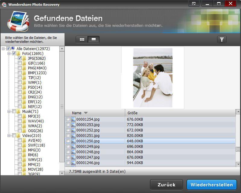 Dateien vorschauen und wiederherstellen