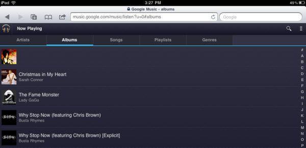 ipad google music