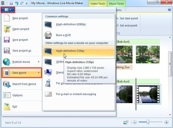 split videos in windows live movie maker
