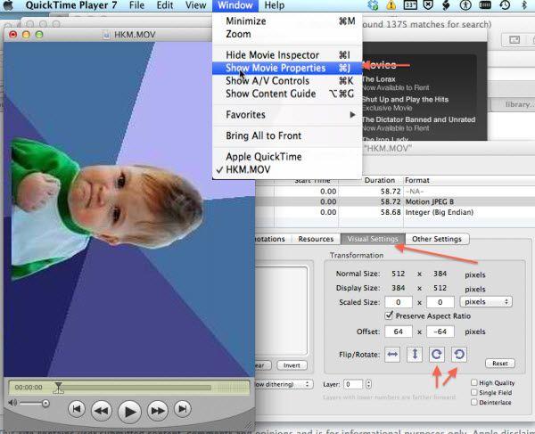 Mit QuickTime MOV Videos drehen