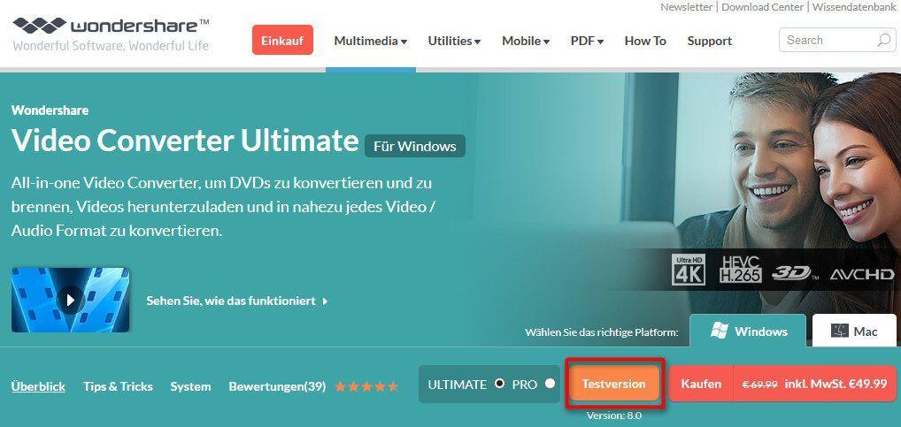 Screenshot der Downloadseite von Wondershare