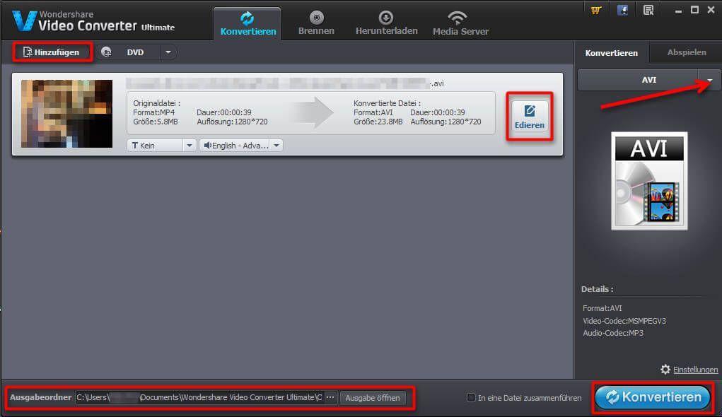 Das Programmfenster des Wondershare Video Converter Ultimate