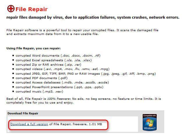 Screenshot der Downloadseite von File Repair