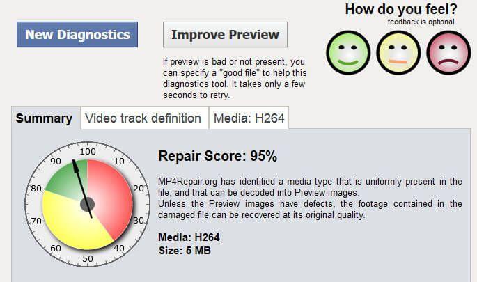 Screenshot des Diagnoseergebnisses von mp4repair
