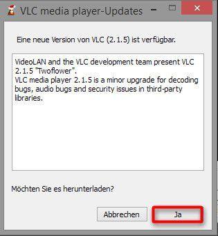 Wenn eine neue Version verfügbar ist, auf Ja klicken, um diese herunterzuladen