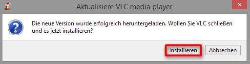 Das Programm fordert zum Installieren des Updates auf