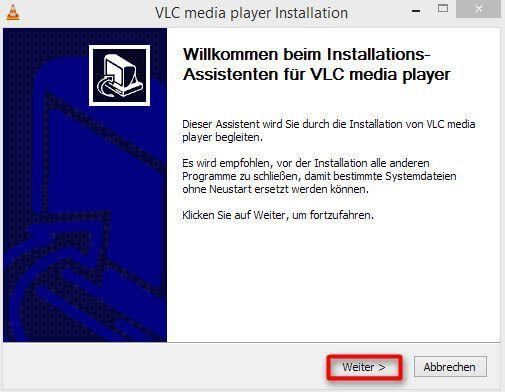 Das Installationsfenster des VLC media players