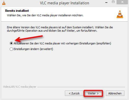 Die Einstellungen des vorher installierten VLC media players können beibehalten werden