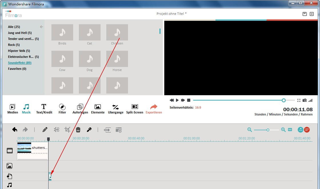 Audio-Dateien splitten mit Wondershare Filmora (Vormals Wondershare Video Editor)