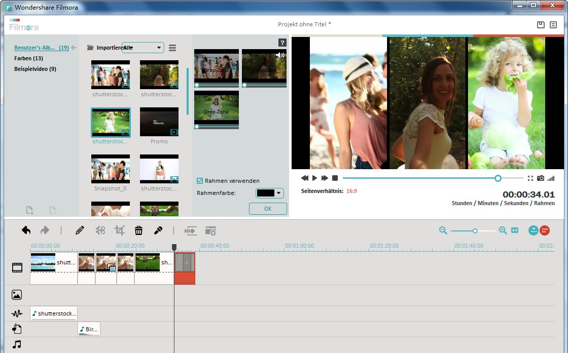 Split-Screen Video mit Wondershare Filmora (Vormals Wondershare Video Editor)