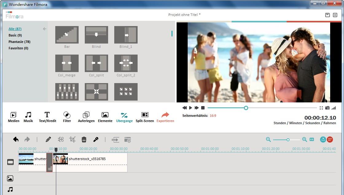 Übergang zur MKV Videobearbeitung hinzufügen