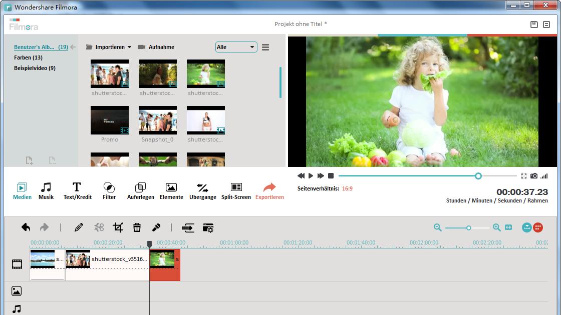 mehrere videos zusammenfügen mit Filmora
