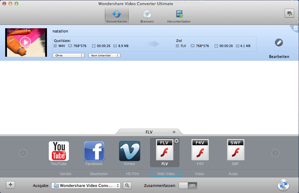 MP4 to FLV converter