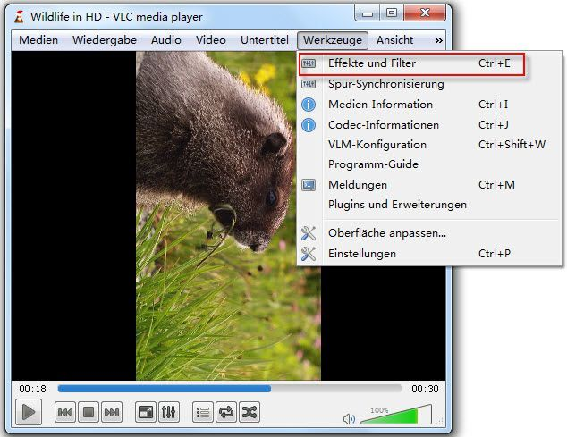 video mit vlc player drehen