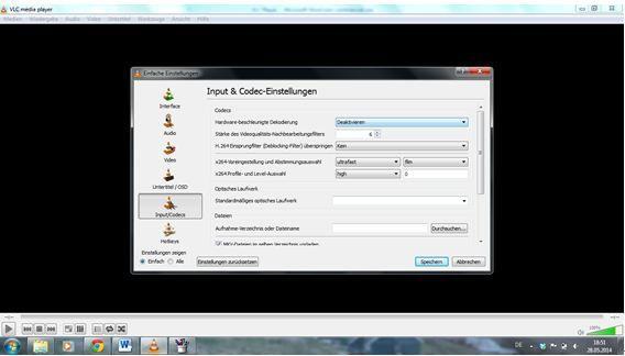 vlc input&codec einstellung