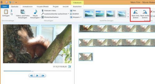 windows live movie maker video drehen